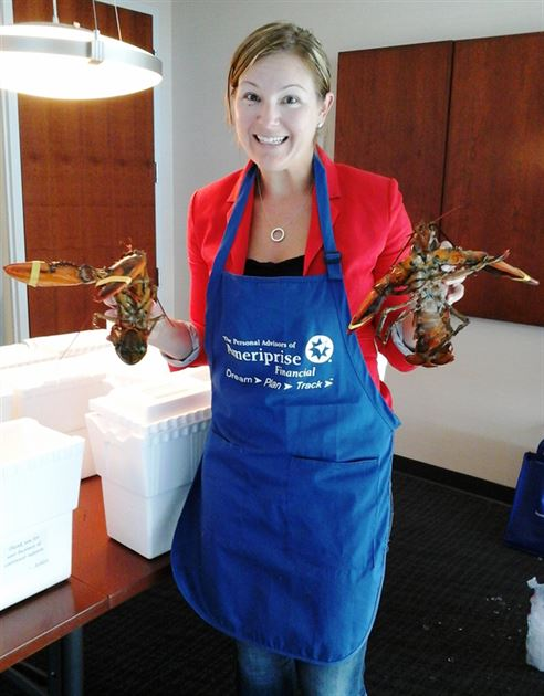 Clients enjoy fresh Maine lobsters
