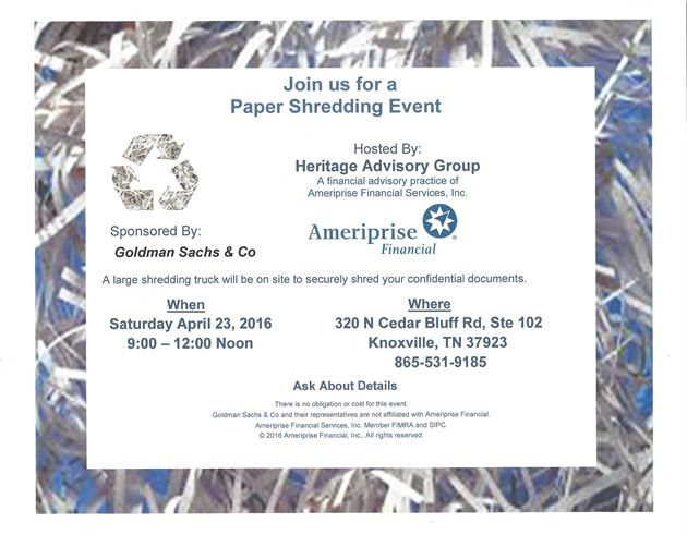 Join us for a Paper Shredding Event